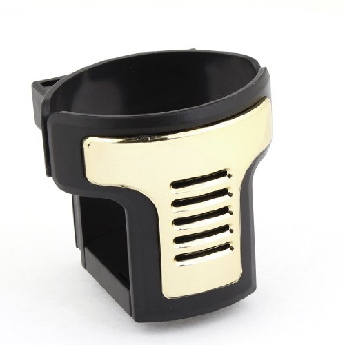 uxcell Auto Car Gold Tone Black Plastic A/C Vent Clips Drink Can Adjustable Holder