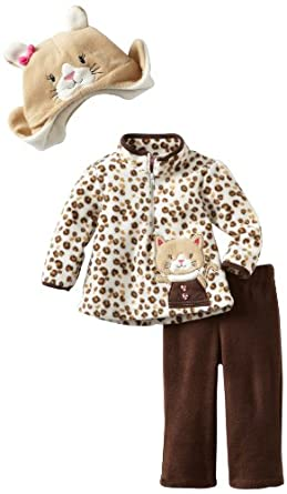 Young Hearts Baby-girls Infant 3 Piece Kitty Micro Polar Fleece Pant Set, Brown, 12 Months