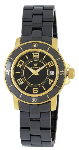 Wellington Ladies Quartz Watch with Black Dial Analogue Display and Black Ceramic Bracelet WN106-222