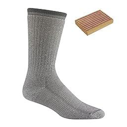 Wigwam Men\'s Merino Comfort Hiker Sock Lt. Grey w/ Cedar Block Large