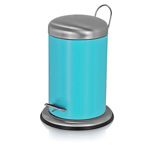 Fortune Candy Round Step Small Trash Can with Fingerprints Proof Stainless Steel Lid and Soft Closing Fitting, 1.3Gallon/5L (Sky Blue) (Colored Trash Can With Lid compare prices)
