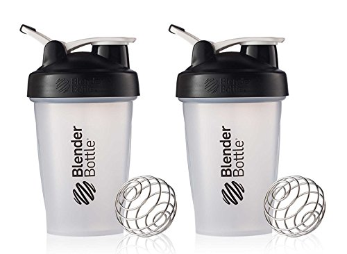 BlenderBottle Classic Loop Top Shaker Cup, 20-Ounce, Black/Clear, 2-Pack