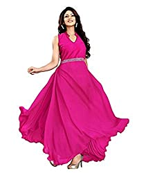 Vadaliya Enterprise Women's Velvet + Net Pink Gown