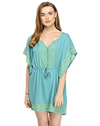 Blue Summer Dress With Embroidery Small