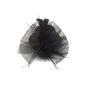 Rosallini Women Party Feather Pillbox Hat Hair Fascinator Black