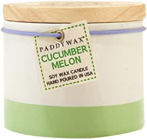Paddywax Candles Homegrown Collection Ceramic Candle with Wood Top, 9-Ounce, Cucumber Melon