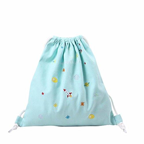 coulisse zaino , Kingko® donne simpatico gatto coulisse borsa regalo borsa da viaggio borsa della spesa della moda porta fascio grande taglia (Blu)
