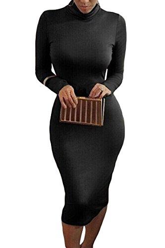 ALAIX Women Turtleneck Long Sleeve Slim Bodycon Wrap Tunic Pencil Midi Dress Black-XL
