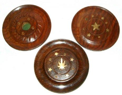 Con texto en inglés Ancient 100 mm diámetro Sesham circular de madera e hilo para soporte para incienso