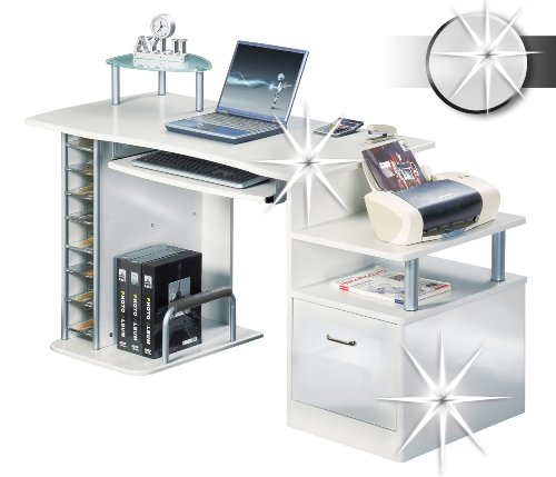SixBros. Office - Scrivania ufficio porta pc bianco lucido - S-202A/732 - Struttura MDF bianco