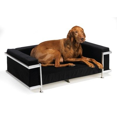 Moderno Dog Bed in Diamond Fabrics Frame: Antique Bronze, Fabric: Microvelvet - Ebony