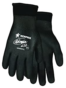 Memphis Glove N9690FCM Ninja Ice FC Nylon Back Double Layer Gloves with Full Dipped HPT Coating, Black, Medium