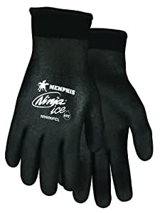 Memphis Glove N9690FCXXL Ninja Ice FC Nylon Back Double Layer Gloves with Full Dipped HPT Coating, Black, 2X-Large, 1-Pair
