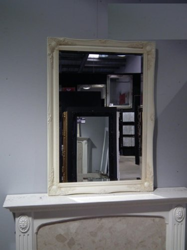 Huge Ivory Overmantle/Wall Mirror complete with Premium Quality Pilkington's Glass - Huge Size: 42 inches x 54 inches (107cm x 137cm) - ITV Show Supplier - BEST PRICE ON AMAZON - ONLY AVAILABLE FROM SHABBY CHIC MIRRORS