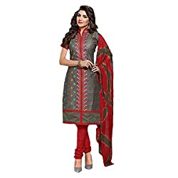 Paridhan Women'S Grey Cotton Embroidered Suit 004