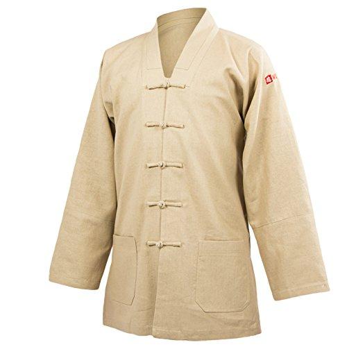 wu designs Leinen Taiji Anzug V-Kragen - Taiji Shirt - Tai Chi - Gong Fu - Wushu, beige, 170