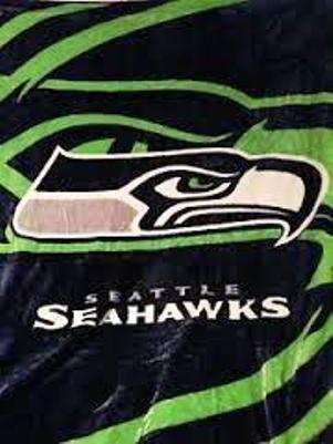 Nfl Licensed Seattle Seahawks Royal Plush Raschel Queen