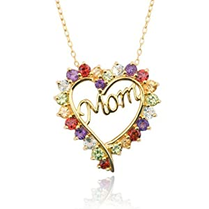 "Yellow Gold Plated Sterling Silver Multi-Gemstone ""Mom"" Heart Pendant, 18"""