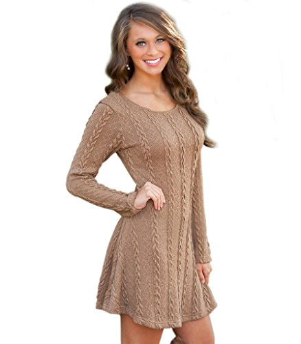 Women Loose Flowy Stretch Knit Crewneck Sweater Mini Dress