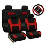 FH-FB031114 Cloth Seat Covers W. 4 Detachable Headrests and Solid Bench Red & Black W. Steering Wheel Cover and Seat Belt Pads