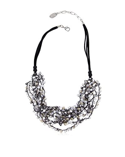 Saachi Black Multi Bead Cluster Necklace