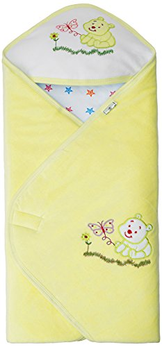 Tiny Care Baby Hooded Wrapper With Star And Bear (Yellow)