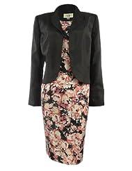 Le Suit Women's Floral Print Dupioni Dress Suit Set (8, Black/Coral Multi) coupons 2015
