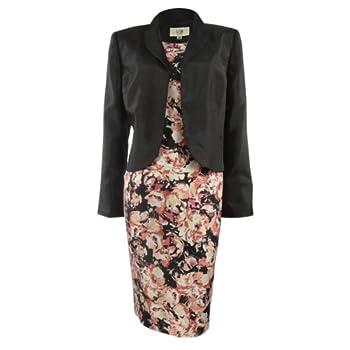 Le Suit Women's Floral Print Dupioni Dress Suit Set (8, Black/Coral Multi) Coupon 2015