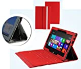 Navitech Ruby Red Bicast Leather Case Cover Sleeve For The Microsoft Surface Tab Windows RT &amp; Windows 8 Pro