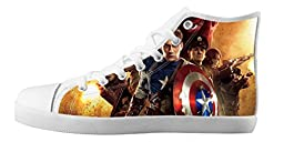 Renben Awesome Nonslip Captain America Kids Girl\'s Canvas Shoes Lace-up High-top Sneakers Fashion Running Shoes