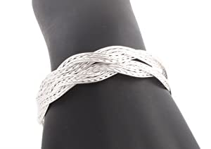 8 Pieces of Silver Basket Weave Style Metal Adjustable Bangle Bracelet
