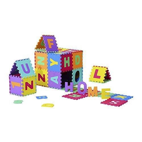 Homcom - Tappeto da Gioco 36 Pezzi Puzzle in EVA con Numeri e Lettere dell'Alfabeto per Bambini Colorato