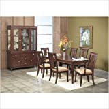 7 Piece Rectangular Dining Table Set with Leaf in Dark Walnut