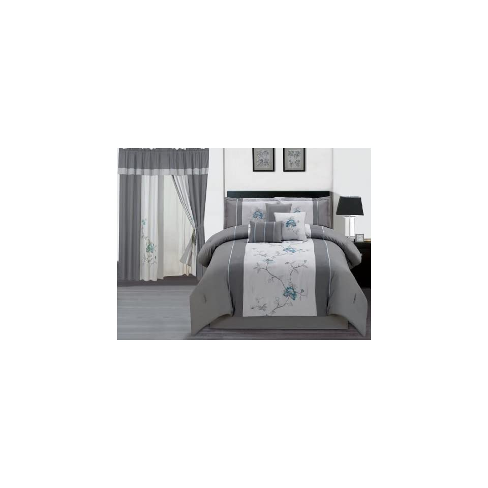 7-Piece Embroidered Floral Bed-in-a-Bag Comforter Set Gray//Blue Queen