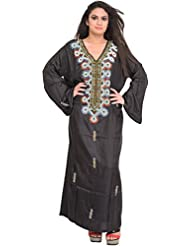 Exotic India Jet-Black Kashmiri Kaftan With Embroidered Beads And Stone- - Black