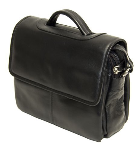 Visconti Atlantic Genuine Soft Leather Small Shoulder/Folio Bag With Top Handle - 1375, Black