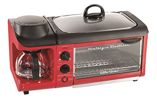 Nostalgia BSET300RETRORED Retro Series 3-in-1 Family Size Breakfast Station (Coffee Maker Toaster Oven Combo compare prices)