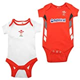 Team Kids Infant Baby Football Cotton Body Vests Pack of Two Press Stud Wales RFU 9 12 Mnth