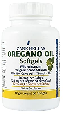 Zane Hellas Oregano Oil Softgels. Concentrate 4:1 Provides 107,5 mg Carvacrol per Serving. Pack of 60 Softgels- Capsules Oil of Oregano. by Zane Hellas