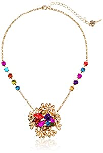 """Betsey Johnson """"Carnival"""" Crystal Cluster Pendant Necklace, 19"""""""