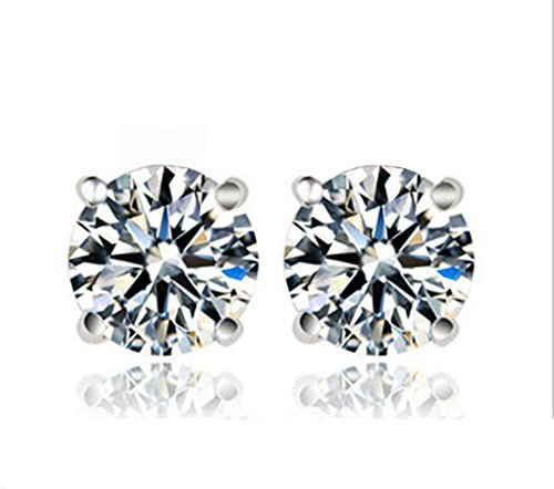 E8R TOP GRADE 4 CARATS SIMULATED DIAMOND SOLITAIRE EARRINGS SCREW BACK 925 SILVER HEARTS AND ARROWS CUT (Tiffany Company compare prices)