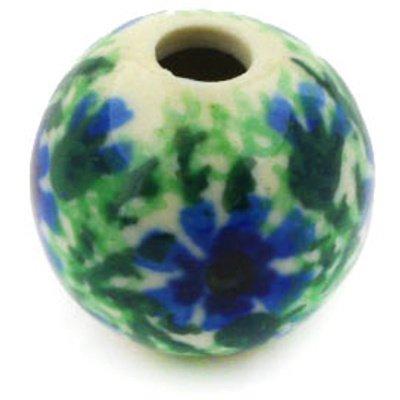 Polmedia Polish Pottery 1-Inch Stoneware Bead H2509E Hand Painted From Ceramika Artystyczna In Boleslawiec Poland. Shape S601C(A03) Pattern P2593A(86)