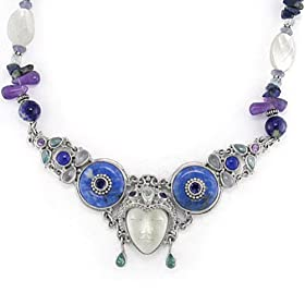 Sterling Silver, MOP, Gemstone Face Necklace