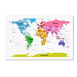 Trademark Fine Art World Map for Kids II Artwork by Michael Tompsett, 35 by 47-Inch