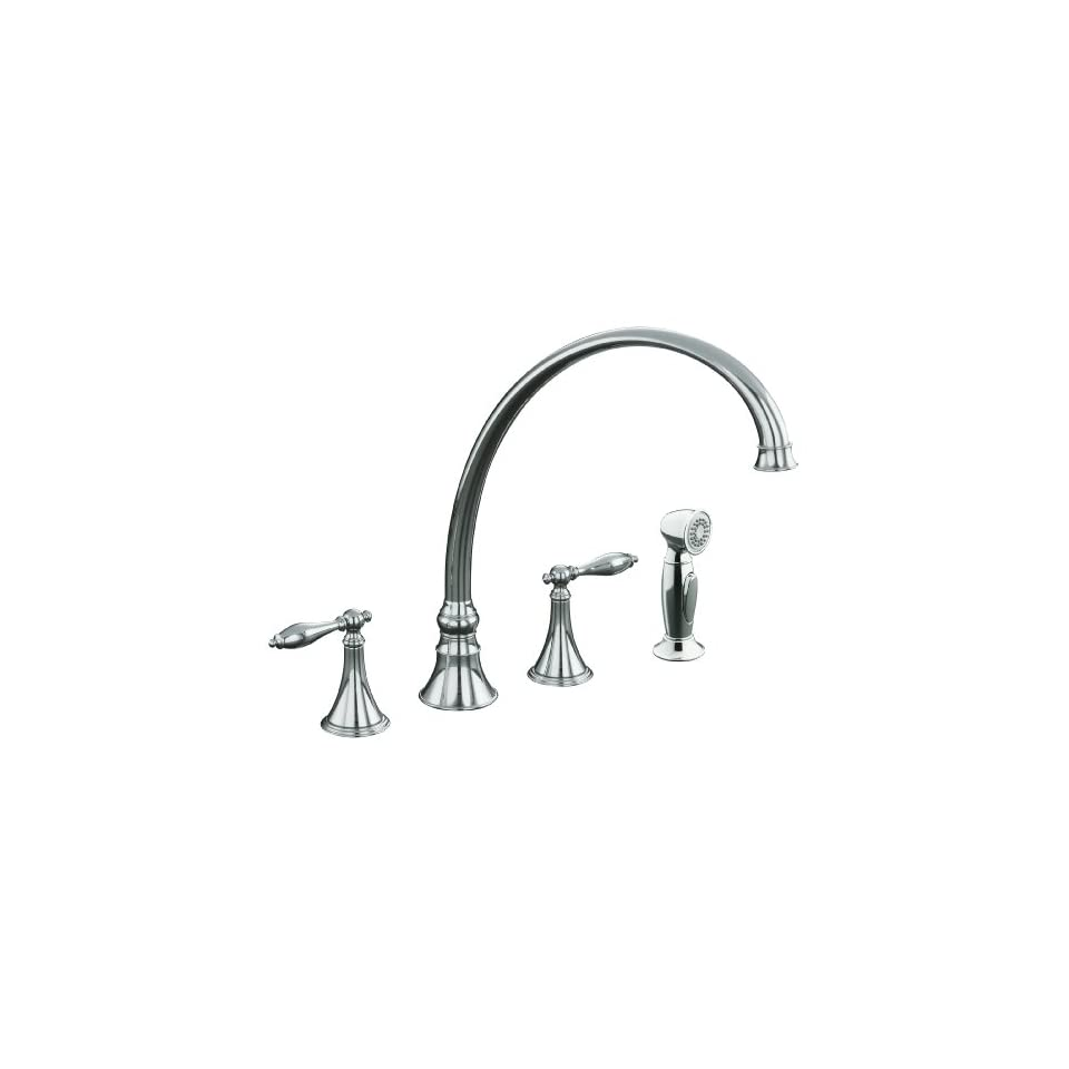 KOHLER K 378 4M CP Finial Traditional Kitchen Sink Faucet with 11 13/16 Inch Spout Reach, Polished Chrome