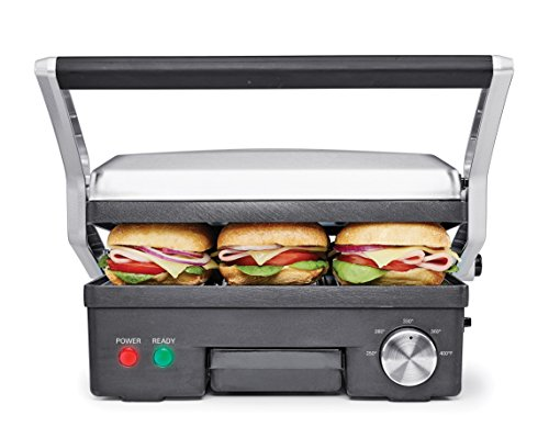 BELLA 4-in-1 Contact Grill Griddle and Panini Maker Combo, Stainless Steel and Black 14464 (Bella Griddle compare prices)
