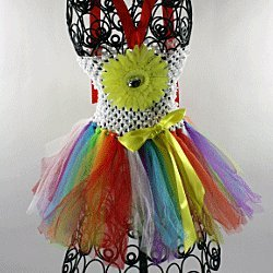 Hairbows Unlimited Girls' Crochet Halter Top Tutu Dress One Size Rainbow front-698801