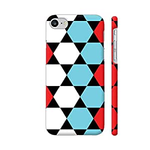Colorpur Red Blue White Hexagonal Blocks Pattern Artwork On Apple iPhone 7 Cover (Designer Mobile Back Case) | Artist: Sangeetha