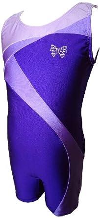 Buy Talent Tale Girls Purple Tank Ribbon Unitard Biketard Size XS 4 5 - S 6 6X - M 7 8 - L 10 12 by Talent Tale