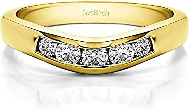Silver Classic Style Curved Wedding Ring Guard with White Sapphire 042 ct twt